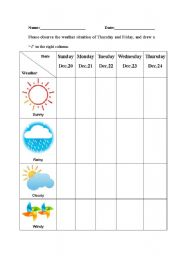 English worksheet: weather