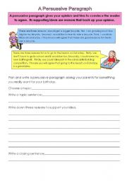 English Worksheet: A Persuasive Paragraph