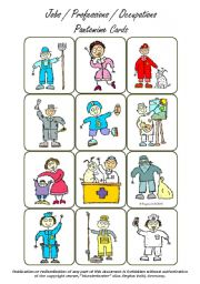 English Worksheets: Jobs / Occupations / Professions - Pantomime / Miming Cards (Set of 36 Cards)