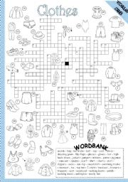 English Worksheet: CLOTHES - CROSSWORD