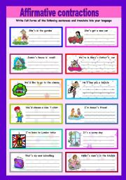 English Worksheets: Affirmative constractions