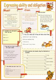 English Worksheet: Must / Can