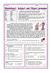 English Worksheet: Worskheet: Subject and Object Pronouns (2 pages)