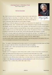 English Worksheet: MAYA ANGELOU�S AMAZING PEACE - Key 2 exercises