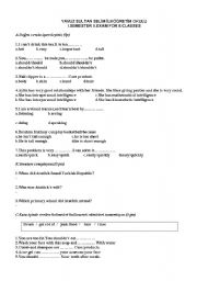 English Worksheets: the exam questions for the eighth grade students