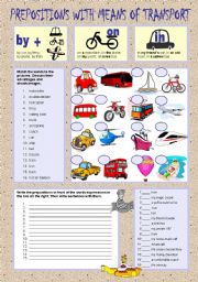 English Worksheet: PREPOSITIONS WITH MEANS OF TRANSPORT