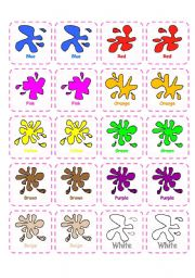 English Worksheets: Memory game - Colors