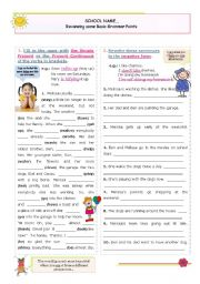 English Worksheet: Reviewing Basic Grammar Points series (8)  -  Present Simple and Present continuous (all forms)