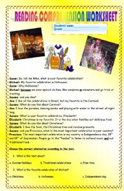 English Worksheet: READING COMPREHENSION ABOUT CELEBRATIONS