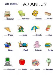 THIS IS A GOOD WORKSHEET TO TEACH THE USE OF A AN