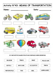 english worksheet means of transportation