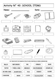 ACTIVITY No 42 SCHOOL ITEMS - ESL worksheet by andresdomingo