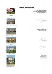 English worksheet: Types of accommodation