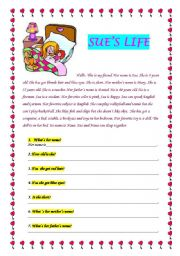 English Worksheets: READING_SUE�S LIFE