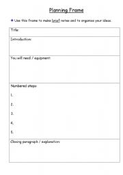 English Worksheets: Planning Frame Instructional Writing