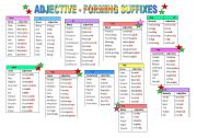 English Worksheet: Adjective Forming Suffixes