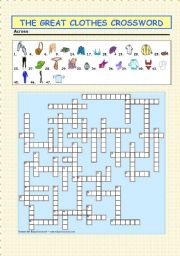 English Worksheet: The Great Clothes Crossword