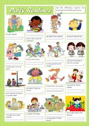 English Worksheets: DAILY ROUTINES (1)