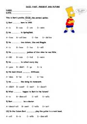 Worksheets Past Present And Future Tense Worksheets english worksheet bart past present future