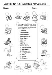 worksheet: ELECTRIC APPLIANCES