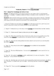 English Worksheets Vocabulary Worksheet Things Fall Apart By Chinua Achebe Chs 11 15
