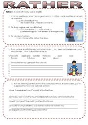 English Worksheets: Rather- One word Many options