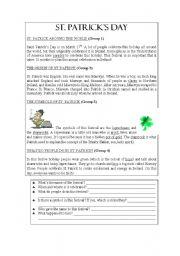 English Worksheets: st patricks day reading comprehension