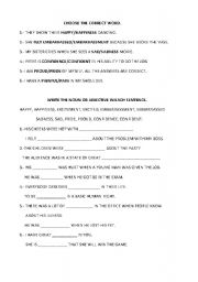 English Worksheets: Choose Noun or Adjective
