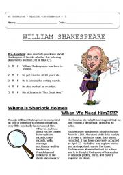 4 pg, Reading Comprehension: Shakespeare