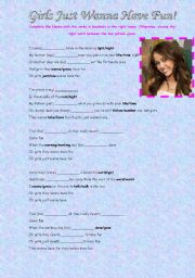 English Worksheet: Girls Just Wanna Have Fun! -Miley Cyrus-