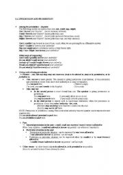 English Worksheet: Permission and prohibition grammar reference