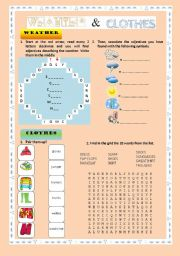 English Worksheet: WEATHER AND CLOTHES