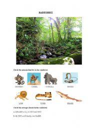 English Worksheets: VEGETATION WORKSHEET(ANIMALS AND CLIMATE)