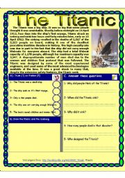 English Worksheets: Reading comprehension test. ( The Titanic) Theme ( DISASTERS)