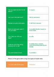 English Worksheet: Modal Verbs - defining type of modal game