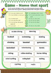 English Worksheet: Name that sport - game 3/3