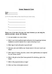 English worksheets: Career Research Form