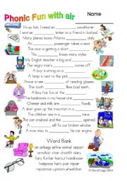English Worksheet: 3 Magic pages of Phonic Fun with air: worksheet, dialogue and key (#28)