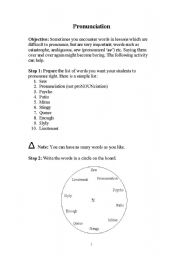 English Worksheet: Pronunciation Practice Game