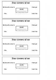 English Worksheets: four cornesr of me