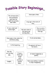 worksheet: How to Start / End a Story