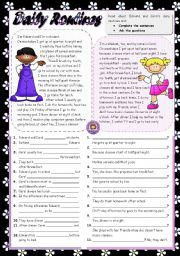 English Worksheets: DAILY ROUTINES (2)