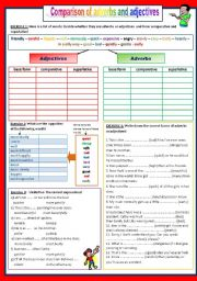 English Worksheet: Comparison of ADVERBS and ADJECTIVES