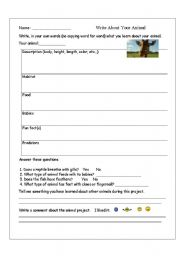 English Worksheets: Write About Your Animal