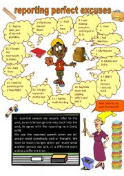 English Worksheet: reporting perfect excuses (14.04.10)