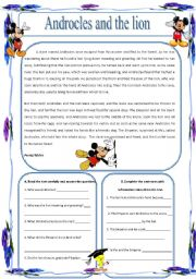 English Worksheets: Androcles and the lion text and questions (14.04.10)