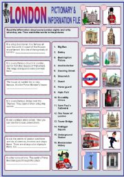 English Worksheet: LONDON PICTIONARY & INFORMATION FILE