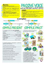 English Worksheet: PASSIVE VOICE with PRESENT&PAST SIMPLE + key