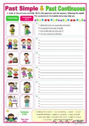 English Worksheet: Past Simple and Past Continuous (2) - a communicative approach