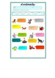 English Worksheets: Famous Animals